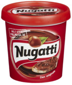 """Nugatti Original er laget av blant annet kakao, melk og hasselnøtter; som gir den gode unike Nugatti-smaken. Smaken har vært på markedet siden 1969, men representerer fortsatt """"Matlyst på boks"""" like sterkt som alltid! Vår største boks, økonomisk for de med ekstra god matlyst"""