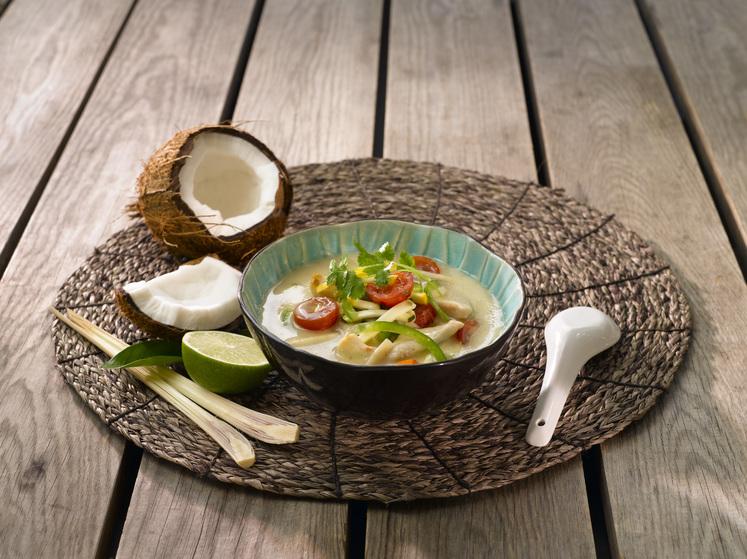 Tom Kha Gai med kylling- og grønnsakswok