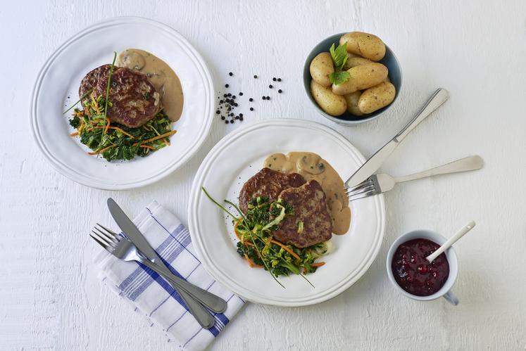 Karbonader med soppsaus og wokgrønnsaker
