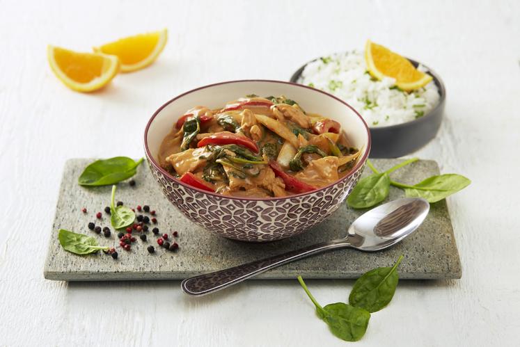 Kylling og grønnsaker i fruktig peppersaus