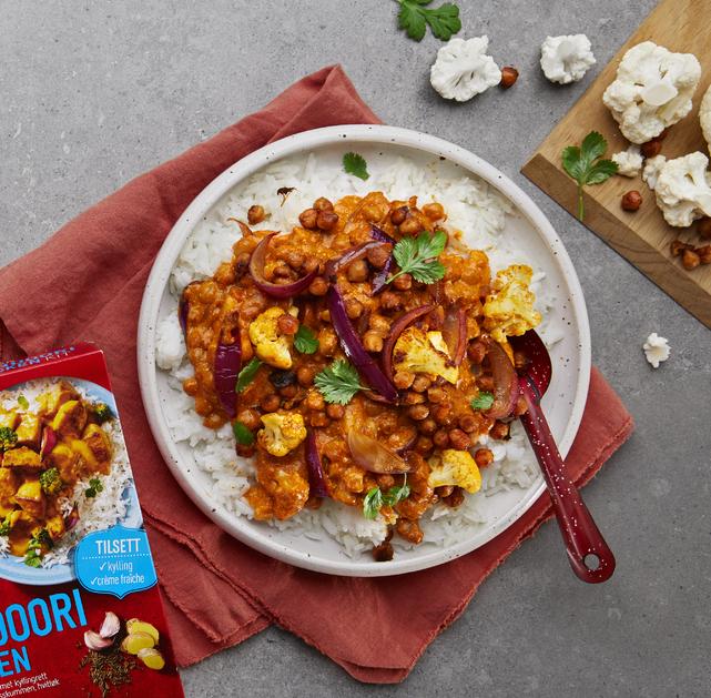 Vegetar tandoori curry med kikerter og blomkål