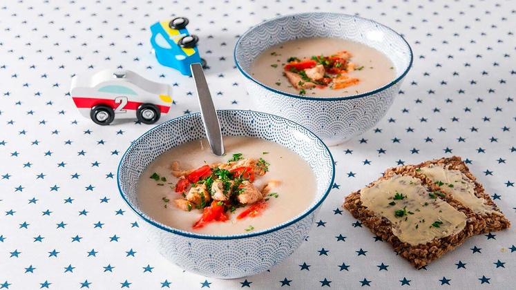 Blomkålsuppe med stekt kylling og paprika